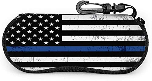 Estuche para gafas de sol de viaje portátil resistente a los arañazos con diseño de bandera de policía