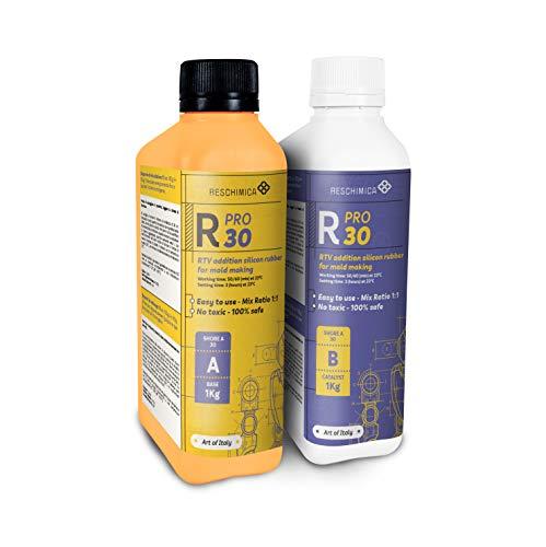 R PRO 30 è una gomma di silicone, 100% sicuro, NO tossica, liquida con catalizzatore al platino, molto rigida ed ad alta resistenza agli strappi, facile da usare (rapporto di miscelazione 1: 1)