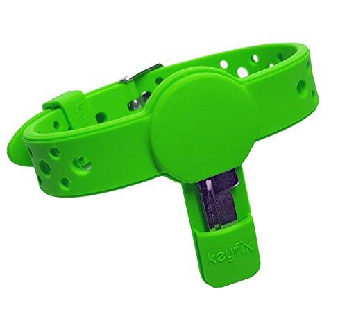 keyfix Pulsera para Llaves S, Pulsera para Llaves de Fitnes para Llaves de armarios, taquillas y Llaves pequeñas, Verde KF003