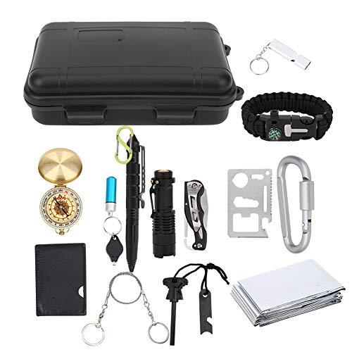 Boumcat kit de supervivencia de emergencia, herramienta multifunción para cursos al aire libre de 15 piezas, suministros de primeros auxilios, brújula, adecuado para viajes al aire libre y campamentos