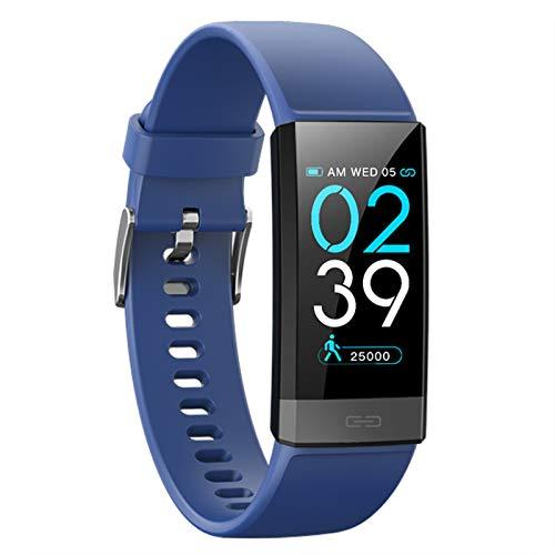 LK-HOME Smartwatch, Touchscreen-Uhr, 24-Stunden-herzfrequenz- Und Blutdruckmessgerät, Wasserdichter Fitness-Tracker, Schrittzähler, Informations-Push-Funktion,Blau