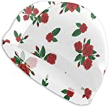 MKLQ Rouge Rose Naturel Lierre Orchidée Feuilles Adultes Bonnet De Bain Haute Élasticité Bonnet De Bain Garde Les Cheveux Propres Respirant