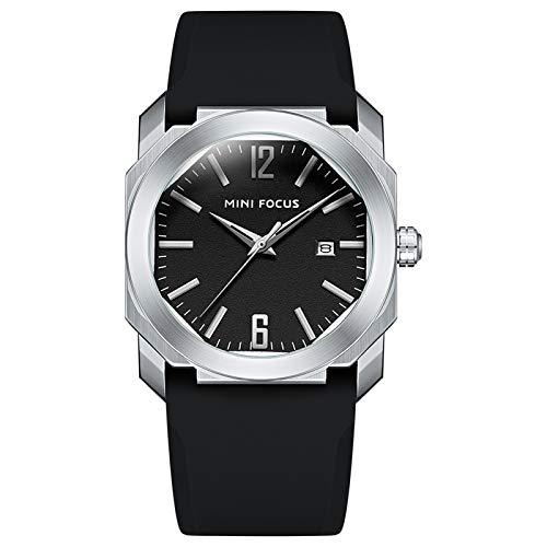 QZPM Reloj De Cuarzo Analógico para Hombre Calendario Multifunción 30M Impermeable Cronógrafo Correa En Silicona Relojes para Hombre,Plata