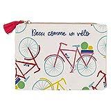 Draeger Paris - Geldbörse Bedruckt Fahrrad 100% Baumwolle mit Reißverschluss und Bommel, 12 x 9,5 cm