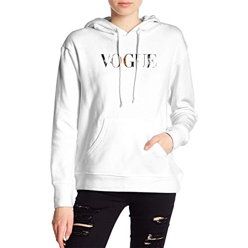 Vogue Women's Hoodie Sweatshirt Pullover Pullover Pullover Long Jacket Universal Polyester HoodieWhite