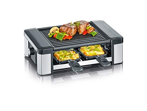 Severin Raclette 4 Persons, Reversible Grill Plate, Brushed Stainless Steel/Black, 4 pans