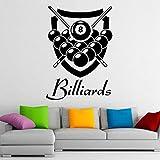 Billar tatuajes de pared snooker deportes juegos de ocio pegatinas pequeñas sala de estar club diseño de interiores decoración papel tapiz extraíble 110x155cm