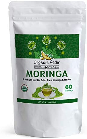 Organic Veda Moringa Tea 60 Tea Bags Premium Whole Green Original Moringa Oleifera Leaf Tea product image