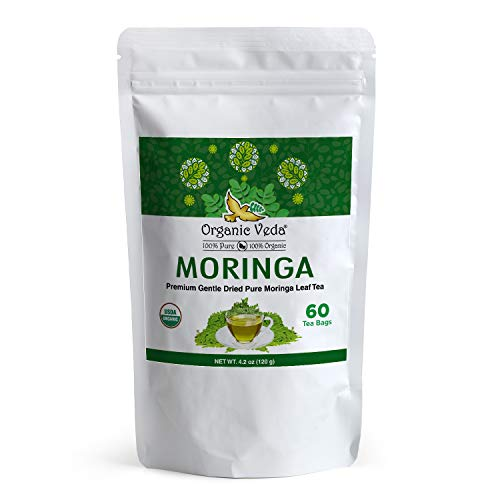 Organic Veda Moringa Tea Bags – 100% Pure USDA Organic Certified Whole Green Premium Dried Moringa Leaf Tea – Non-GMO, Caffeine Free, Gluten-Free - 60 Tea Bags