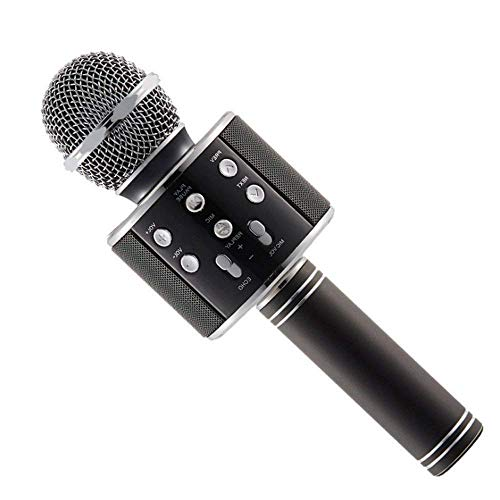 ACESQUARE MS-888 Wireless Microphone for Karaoke Mic   Portable Mic   Singing Mic & Bluetooth Speaker Compatible with iPhone   iPad   iPod   and All Android Smartphones - Assorted Colours (BLACK)