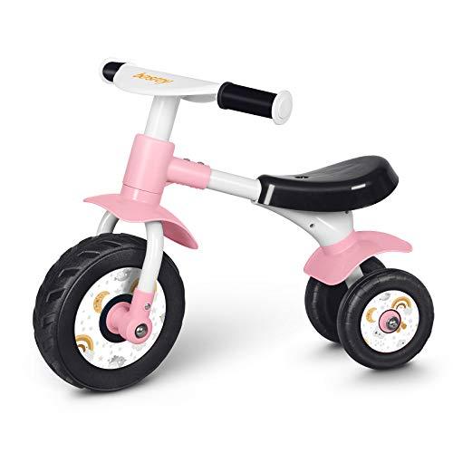 三輪車 besrey ペダルなし自転車 3輪 1歳、2歳、3歳 子供 女の子 男の子 幼児用 室内 安定性アップ ミニ バイク バランス 軽量 ノーパンクタイヤ 出産祝い 誕生日プレゼント (ピンク)