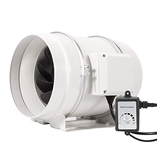 Hon&Guan Aspiratore 200mm - Ventola di Ventilazione in Linea con Regolatore di Velocità Variabile, Motore CE, 110 V-240 V, Estrattore Ventilatore Silenzioso per Bagno