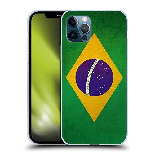 Head Case Designs Brasilien Brasilianisch Vintage Fahnen Soft Gel Handyhülle Hülle Huelle und Passende Designer Hintergrundbilder kompatibel mit Apple iPhone 12 / iPhone 12 Pro