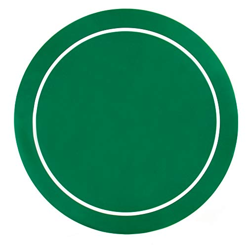 Brybelly Sure Stick Round Poker Table Layout with Rubber Grip Matting, Green, 54-Inch