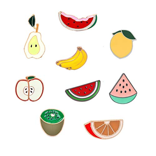 ZSCZQ Cute Badge Watermelon Kiwi Strawberry Orange Banana Apple Cartoon Fruit Fashion Brooches Enamel Pins For Women Kids Gift Jewelry Lemon