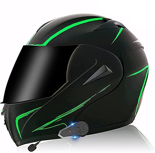 TKTTBD Casco De Motocicleta Integrado con Bluetooth, Intercomunicador FM MP3 Incorporado Sistema De Comunicación para 2-3 Personas Casco Modular Casco De Ciclomotor Certificado ECE/Dot D,M-57-58CM