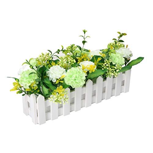Flikool Hortensia Fleurs Artificielles avec Clôture Plantes Artificielles en Pot Simulation Potted Bonsai Truqué Hydrangea Floral Artificiels Maison Ornements de Décoration - Vert