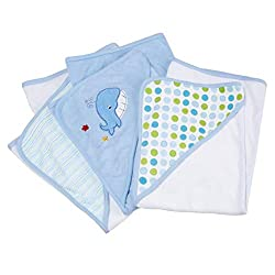 cheap Set of 3 soft Spasilk baby hooded terry towels for newborn boys and girls