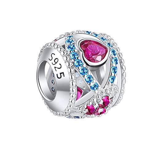 NINGAN Unendlichkeit Herz Charme-Charms-Anhänger 925 Sterling Silber Charm Bead für Chamilia und europäische Armbänder und Halsketten