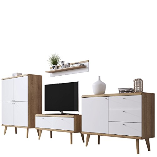 Mirjan24  Wohnzimmer Primo III, Elegantes Wohnzimmer-Set im skandinavischen Stil, TV Lowboard, Zwei Kommode, Wandregal, Komplett (Riviera Eiche/Weiß)