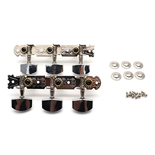BQLZR Silver Chrome Plated 6 in Line Machine Heads 6L6R Square Metal Head for 12 String Guitar