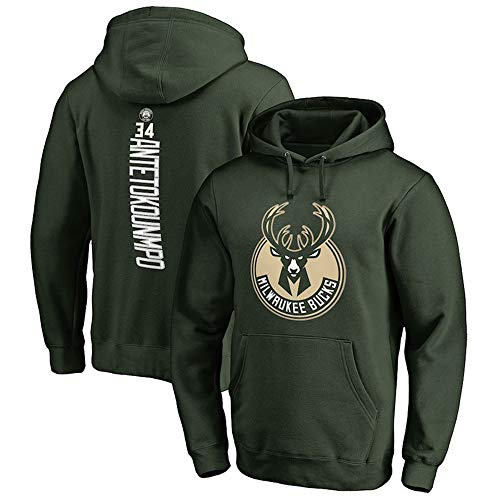 Herren Hoodie Youth Männer Pullover NBA Bucks 34# Antetokounmpo Name & Number Fashion Basketball Sports Sweatshirt Tops