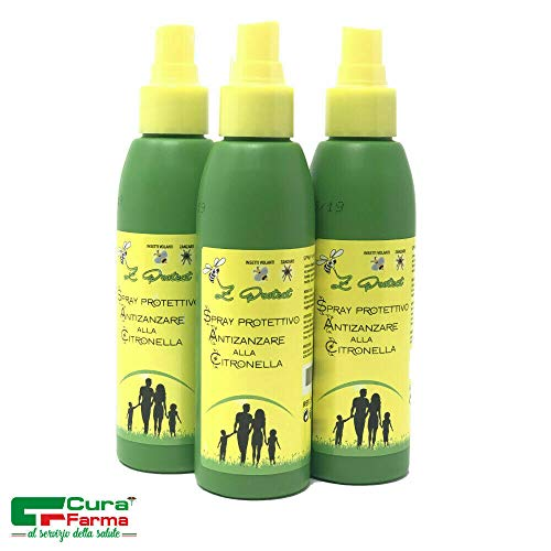 Cura Farma 3 Spray Antizanzare Z-Protect citronella da 100ml, Allontana Le zanzare in Maniera Naturale, Testato dermatologicamente. Protezione Anti-Zanzara Completa.