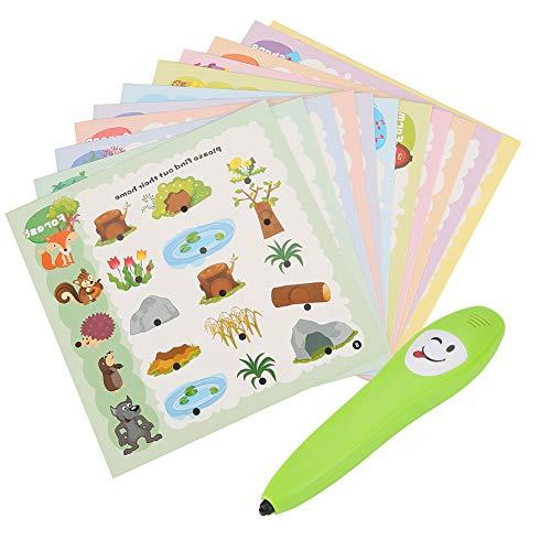 Zerodis 12pcs Pluma de Lectura Kit para Niños, Juego de Juego de Sentido común Interacción educativa temprana Juguete Desarrollo Intelectual Libros cognitivos