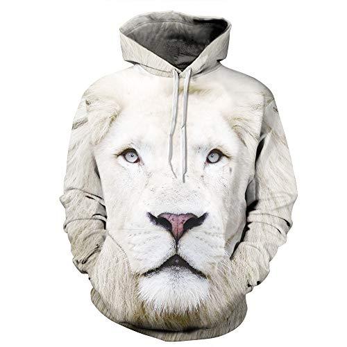 LUOYLYM Langärmliges Hemd Jacke 3D Löwe Digitaldruck Paar Lose Kapuzenpullover Männer Und Frauen...