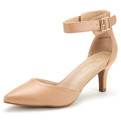 DREAM PAIRS Women's Lowpointed Taupe Pu Low Heel Dress Pump Shoes - 6.5 M US