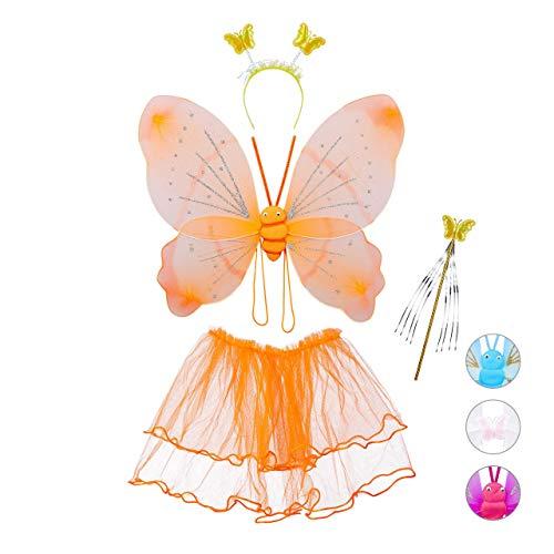Relaxdays Disfraz Hada Niña, Alas Mariposa, Diadema, Varita Mágica y Falda Tul, 40x52 cm, Poliéster-Plástico, Naranja, color, 1 ud. (10027920_57) , color/modelo surtido