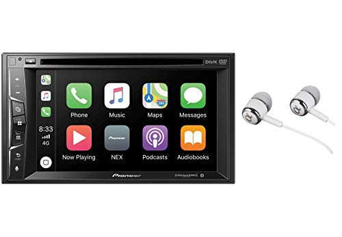 Pioneer Multimedia Double-Din In-Dash 6.2' WVGA Display DVD Receiver Apple CarPlay/Built-in Bluetooth/SiriusXM-Ready/AppRadio Mode/ Spotify & Pandora Bundled with Alphasonik Earbuds