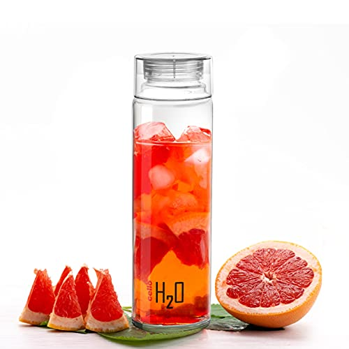 Cello H2O Soda-lime Glass Fridge Water Bottle with Plastic Cap, 1000ml, Clear
