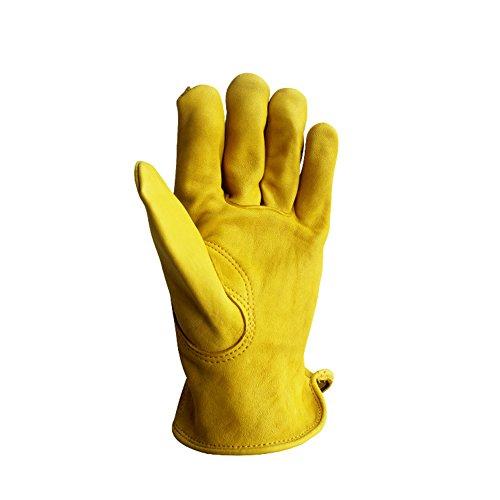 Guanti protettivi da lavoro in pelle vacchetta, antiscivolo, ideali per il giardinaggio, per scavare, piantare e potare i fiori