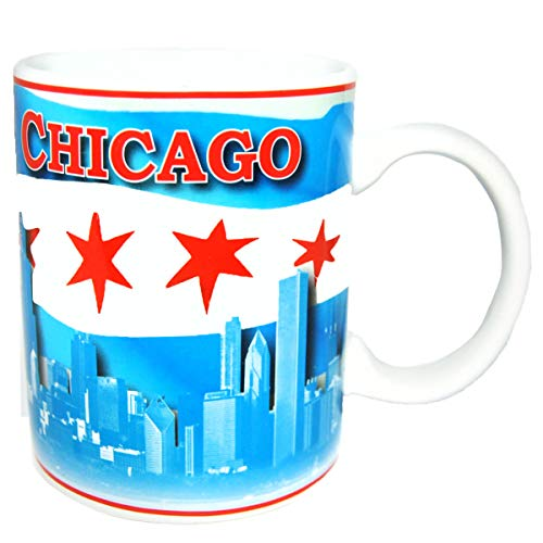 Chicago City Skyline Souvenir Ceramic Coffee Mug Waving Flag of Chicago Long lasting Coffee Cup