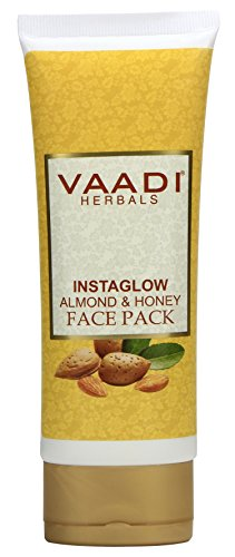 VAADI HERBALS FACE PACK INSTAGLOW ALMOND & HONEY FAIRNESS FACE MASK OIL CONTROL - All Skin Type - 1 X 120 GMS