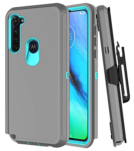 Moto G Stylus Case, Moto G Power Case with Kickstand Built-in Screen Protector Heavy Duty Shockproof Bumper Protective Cover Phone Case for Moto G Stylus/Moto G Power (Grey/Blue with Belt Clip)