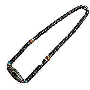 ZHIBO Halskette mit 9 Augen aus tibetgrünem Achat