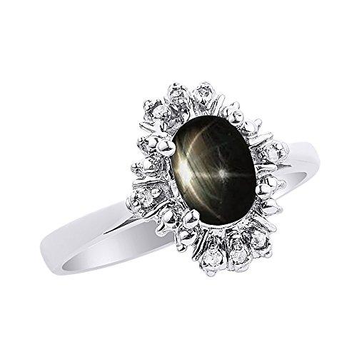 Diamante & Negro Star Sapphire anillo Set en plata de ley diamantes de fantasía