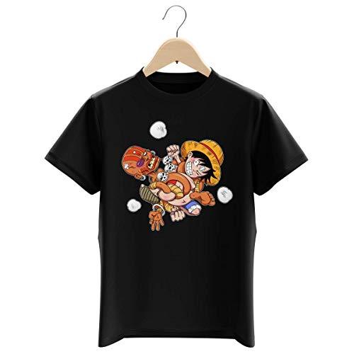 T-Shirt Enfant Garçon Noir Parodie One Piece - Street Fighter - Luffy et Dhalsim - Baston élastique (T-Shirt Enfant de qualité Premium de Taille 13-14 Ans - imprimé en France)
