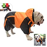 Lovelonglong American Bully Pitbull Dog Hooded Raincoat, Bulldog Rain Jacket Poncho Waterproof Clothes with Hood Breathable 4 Feet Four Legs Rain Coats for Pugs English French Bulldog Orange B-M
