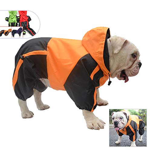Lovelonglong American Bully Pitbull Dog Hooded Raincoat, Bulldog Rain Jacket Poncho Waterproof Clothes with Hood Breathable 4 Feet Four Legs Rain Coats for Pugs English French Bulldog Orange B-XL