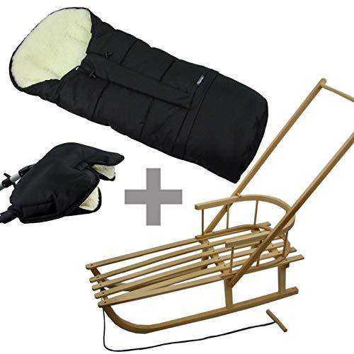 BambiniWelt24 combi-aanbieding! Slee met rugleuning en schuifstang + wintervoetenzak mumie + handwarmer, mof.