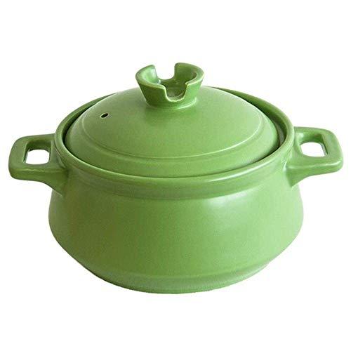 CYQ Olla para estofado de Terracota Cazuela de Arcilla Cazuela de cerámica - Eficiente en energía, Saludable y Duradera, Capacidad 2500 ml-Capacidad 2500 ml_Green