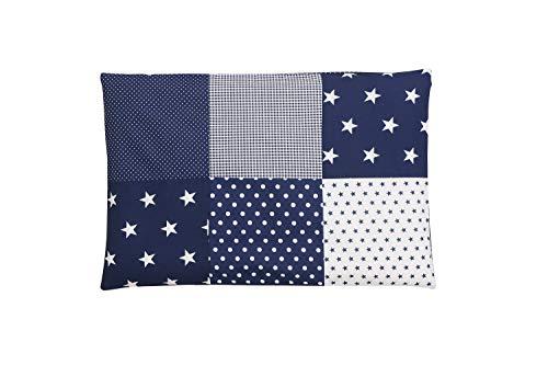 ULLENBOOM ® Kissenbezug 40x60 Kinder & Baby Blaue Sterne (Made in EU) - Kopfkissenbezug aus Baumwolle mit Reißverschluss, Bezug auch für Dekokissen geeignet, Motiv: Sterne, Patchwork Design