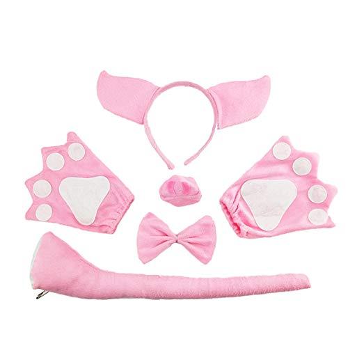 PRETYZOOM 5pcs Disfraz de Cerdo para Nios Conjunto de Diadema con Orejas Animal Cola y Pajarita Guantes Traje de Costume para Fiesta (Pink Pig)