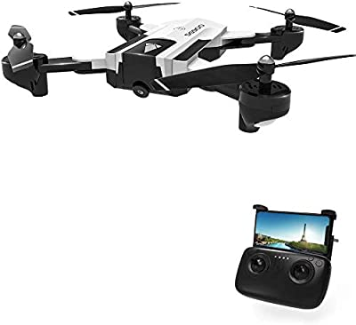 DeeXop Rc Drone, SG900 Optical Flowing Foldable FPV Drone FPV WiFi Rc Quadcopter with Double HD 720P Camera 4CH 6-Axis Gyro Image Allow Gesture Photo/Video Selfie Drone-White(Can works at home)