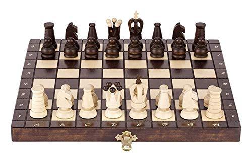 L.J.JZDY Schachbrett Faltschach Set Holzschach Set Faltbrett Spiele für Jugendliche Professional Schach Set Big Board Spiel Einfach zu tragen (Farbe: Braun, Größe: Eine Größe)