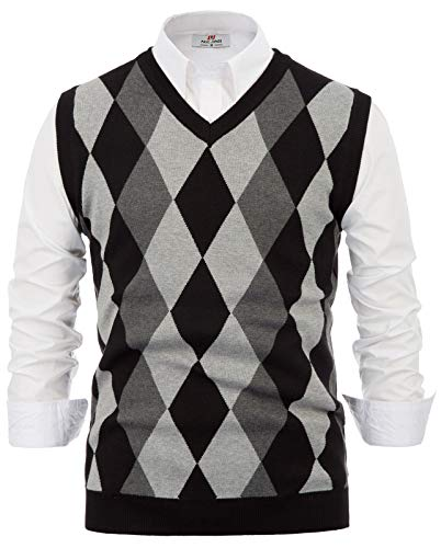 PJ PAUL JONES Mens Argyle Sweater Vest Slim Fit V-Neck Lightweight Pullover Vest Black L
