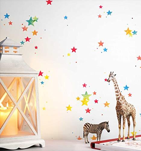 NEWROOM Kindertapete Bunt Sterne Kinder Papiertapete Weiß Papier Kindertapete Kinderzimmer Babytapete Babyzimmer